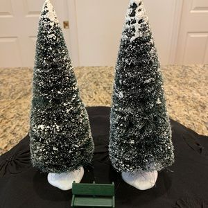 Dept 56 2 tall snowy trees and green bench